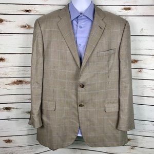 Burberry London Tan Blue Plaid Wool Silk Suit Coat